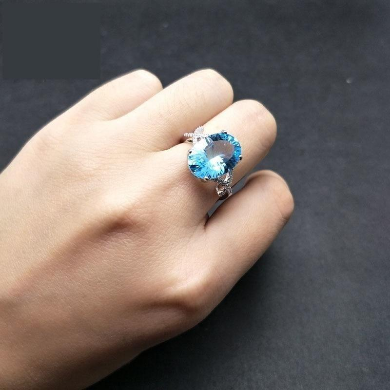 Sky Blue Topaz Oval 10*14mm Concave Cut Simple Gemstone Ring - Rings