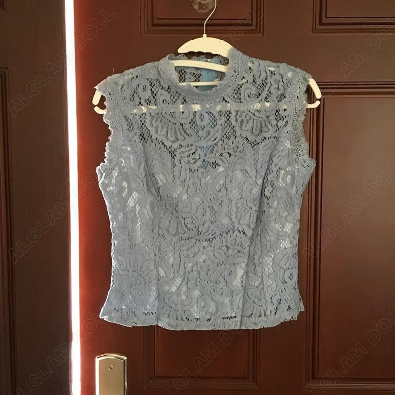 Sleeveless Lace Bowknot Irregular Mini Skirt Two Piece Dress Suit - Set