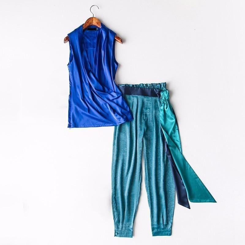Sleeveless Tops Turnip Pants Two Piece V Neck High Waist Lace Suits Set - As Picture Set / L - Jumpsuit