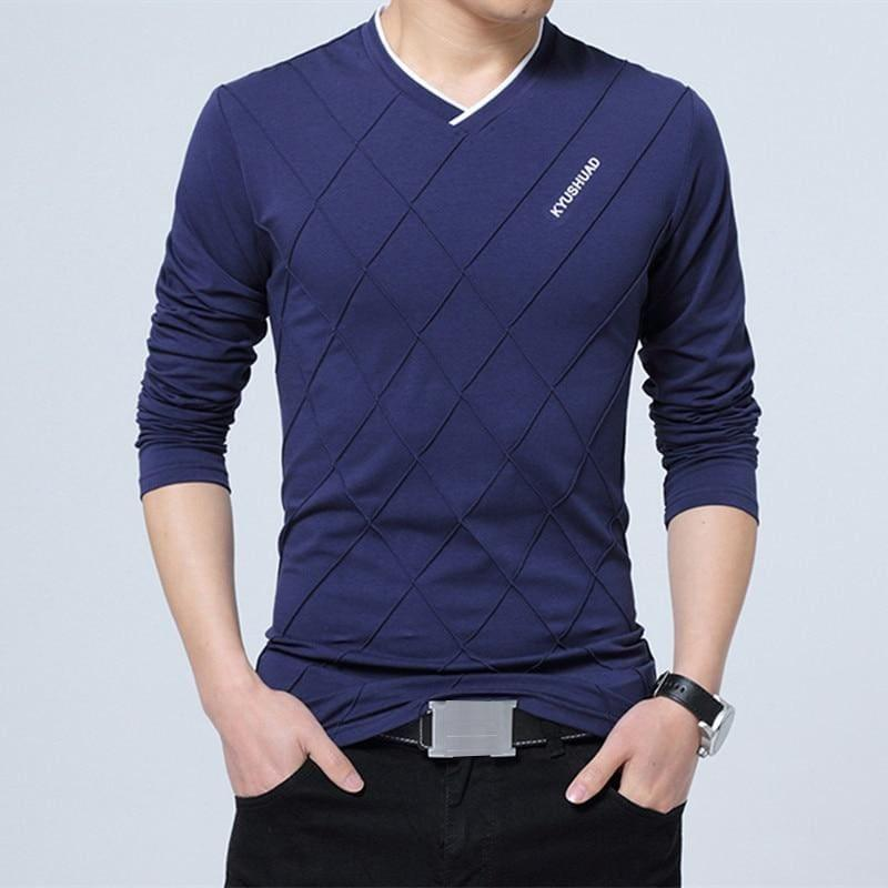 Slim Fit Long Stylish Luxury V Neck Fitness Long Sleeve Mens T-shirt - Blue / Asian Size 4XL - Men Sweater