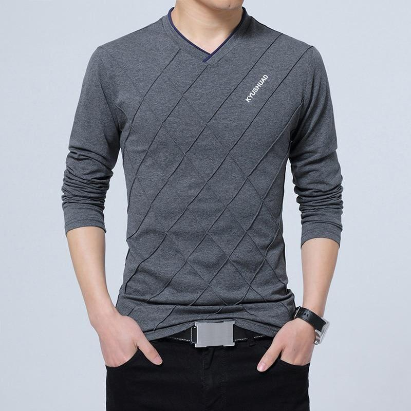 Slim Fit Long Stylish Luxury V Neck Fitness Long Sleeve Mens T-shirt - Dark Grey / Asian Size 4XL - Men Sweater
