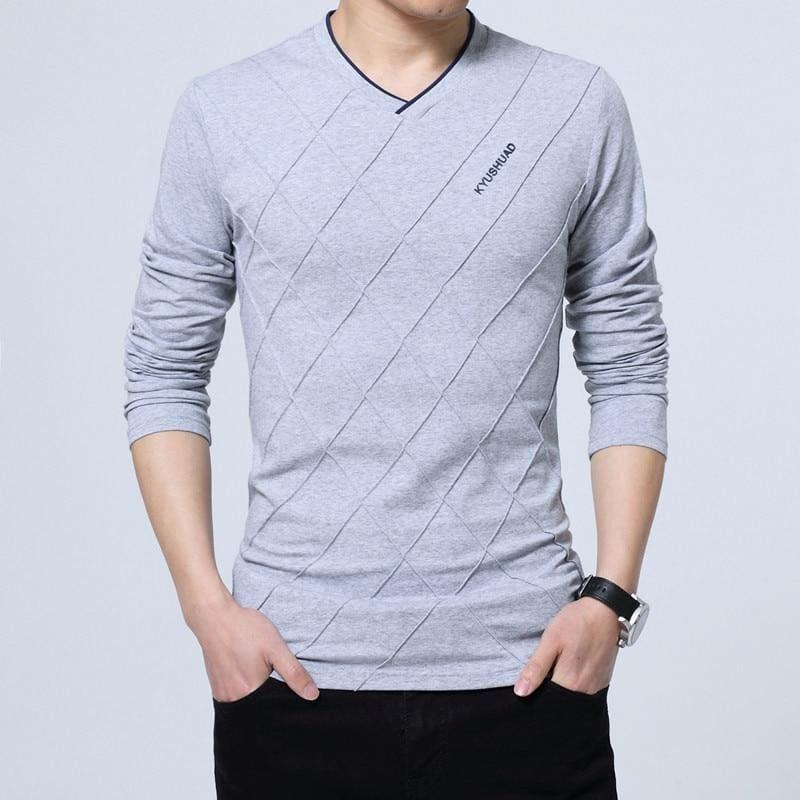 Slim Fit Long Stylish Luxury V Neck Fitness Long Sleeve Mens T-shirt - Gray / Asian Size 4XL - Men Sweater