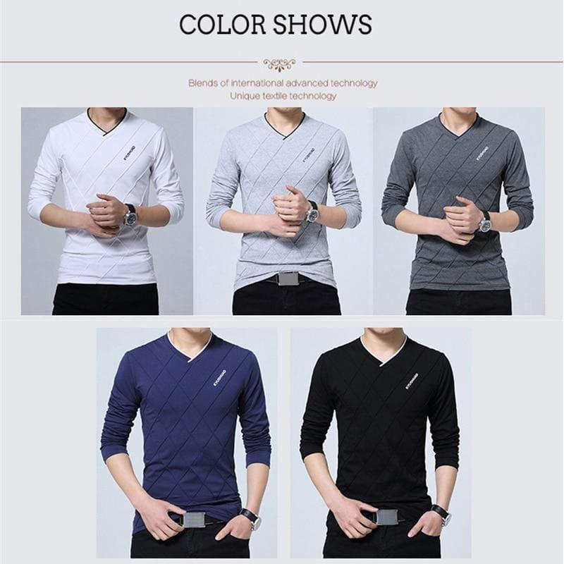 Slim Fit Long Stylish Luxury V Neck Fitness Long Sleeve Mens T-shirt - Men Sweater