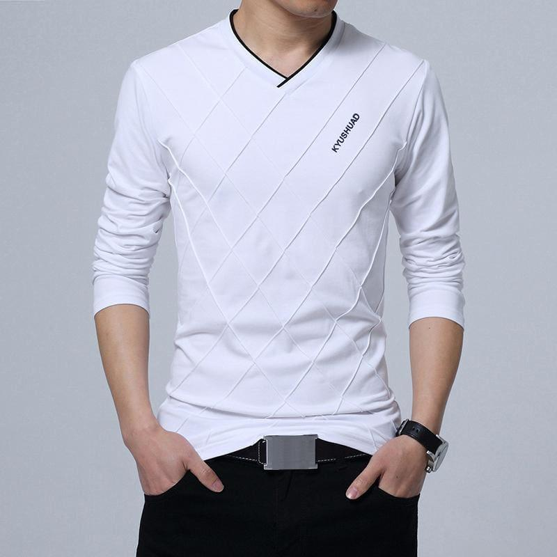 Slim Fit Long Stylish Luxury V Neck Fitness Long Sleeve Mens T-shirt - White / Asian Size 4XL - Men Sweater