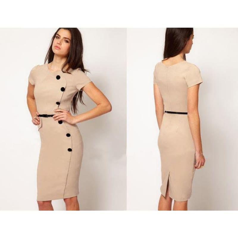 Solid Casual O-Neck Bodycon Knee-Length Dress - Beige / S - Mid Length