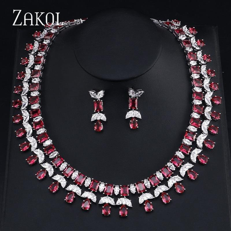Sparkling Clear Water Drop Cubic Zirconia Elegant Bridal Wedding Jewelry Set - jewelry set