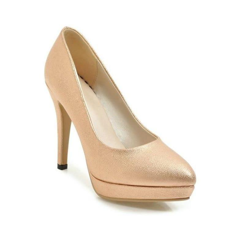 Spring Color Platform Slip on Thin High Heel Sexy All Match Ladies Wedding Pumps - Gold / 6 - Pumps