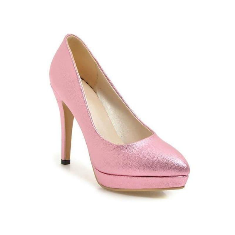 Spring Color Platform Slip On Thin High Heel Sexy All Match Ladies Wedding Pumps - Pink / 6 - Pumps