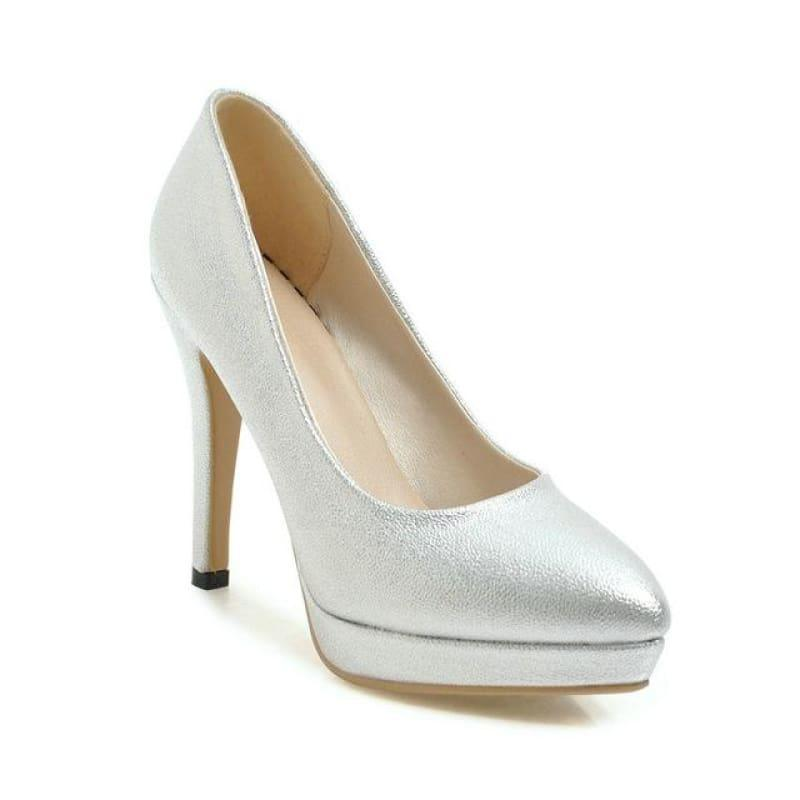 Spring Color Platform Slip on Thin High Heel Sexy All Match Ladies Wedding Pumps - Silver / 6 - Pumps
