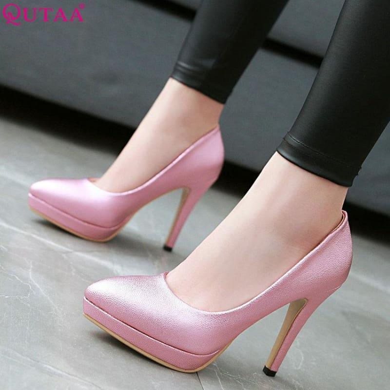 Spring Color Platform Slip on Thin High Heel Sexy All Match Ladies Wedding Pumps - Pumps