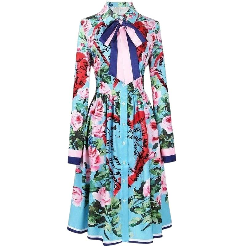 Spring Ribbon Rose Letter Heart Floral Print Casual Elegant Midi Dress - Sky Blue / L - Midi Dress