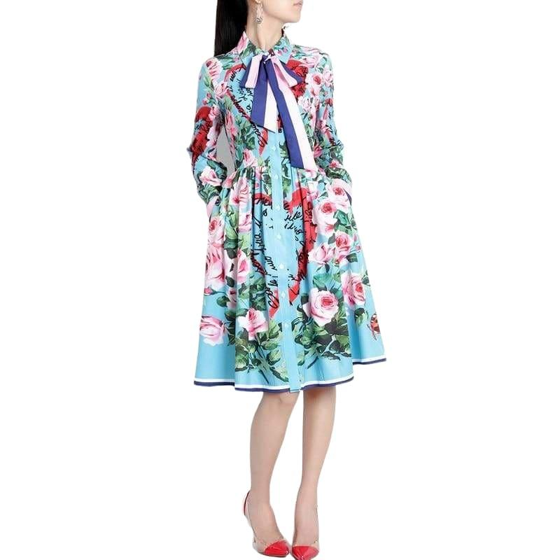 Spring Ribbon Rose Letter Heart Floral Print Casual Elegant Midi Dress - Midi Dress