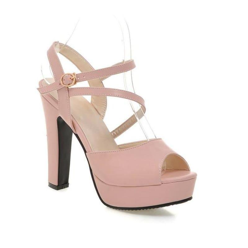Spring/Summer 2019 Strap Buckle Square High Heel Peep toe Sandals - Pink / 7 - Sandals
