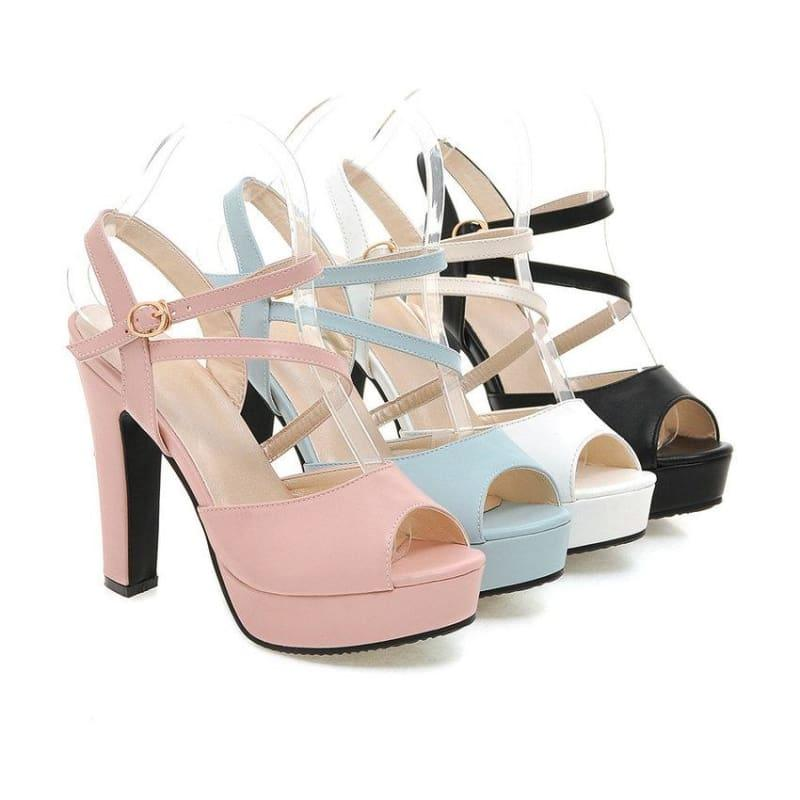 Spring/Summer 2019 Strap Buckle Square High Heel Peep toe Sandals - Sandals
