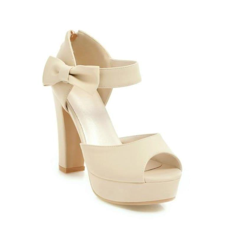 Square Block Heel Leather High Heel Peep Toe Platform Summer Sandals - Apricot / 7 - Sandals