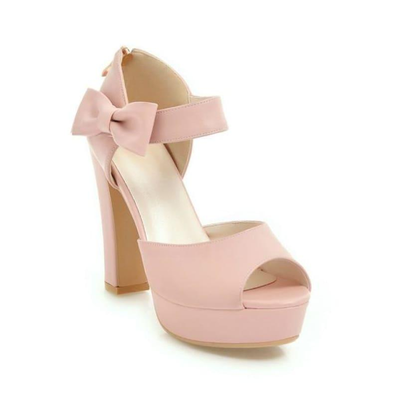Square Block Heel Leather High Heel Peep Toe Platform Summer Sandals - Pink / 7 - Sandals
