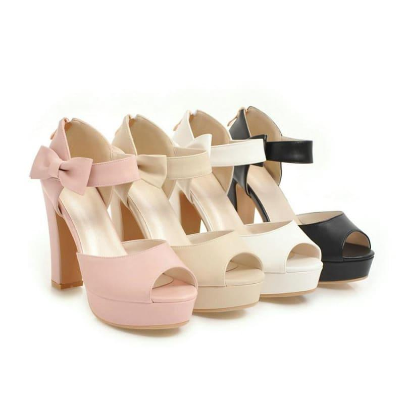 Square Block Heel Leather High Heel Peep Toe Platform Summer Sandals - Sandals