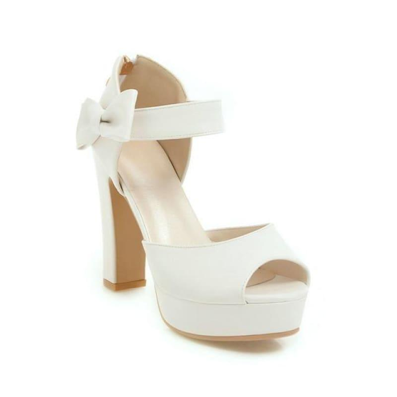 Square Block Heel Leather High Heel Peep Toe Platform Summer Sandals - White / 7 - Sandals