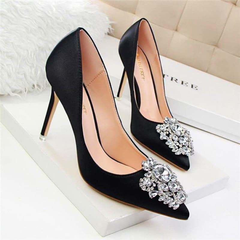 Star Silk Rhinestone Pointed Toe Women Wedding Pumps - Black / 4.5 - Pumps