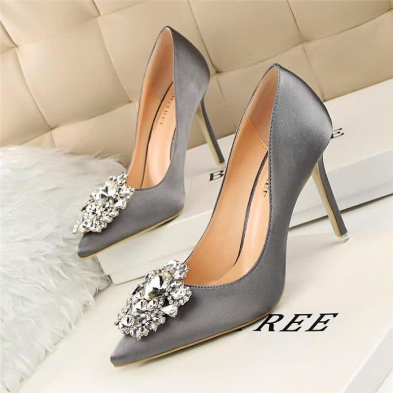 Star Silk Rhinestone Pointed Toe Women Wedding Pumps - Gray / 4.5 - Pumps