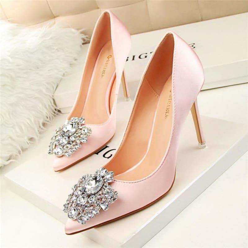Star Silk Rhinestone Pointed Toe Women Wedding Pumps - Pink / 4.5 - Pumps