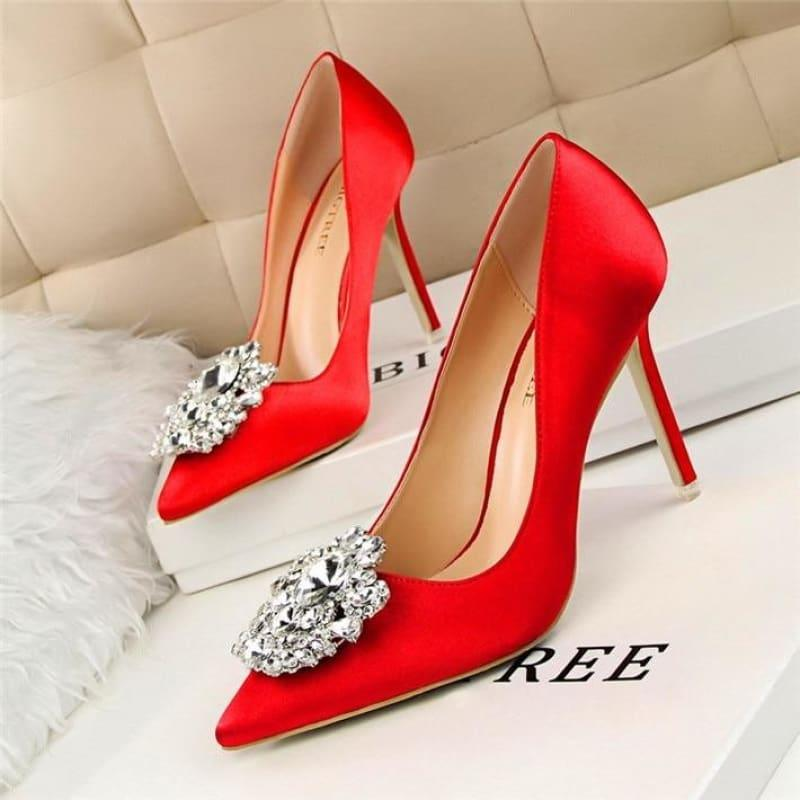 Star Silk Rhinestone Pointed Toe Women Wedding Pumps - Red / 4.5 - Pumps