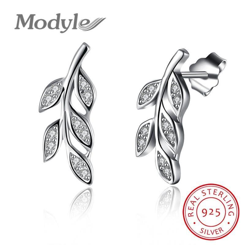 Sterling Silver Cubic Zirconia Leaf Stud Earring - Earrings