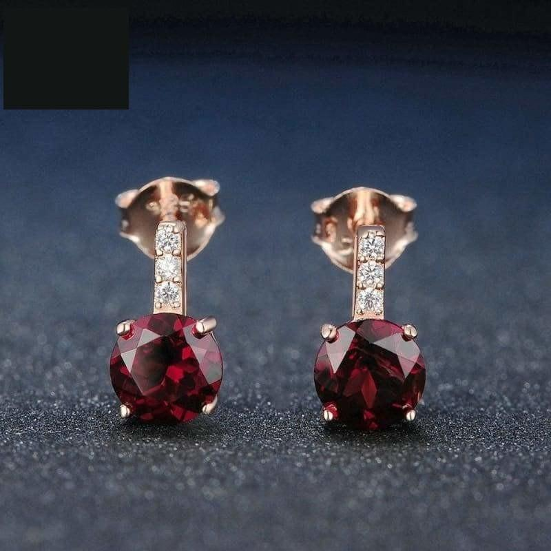 Sterling Silver Trendy 2ct Natural Red Garnet 925 Fine Jewelry Set - Jewelry set