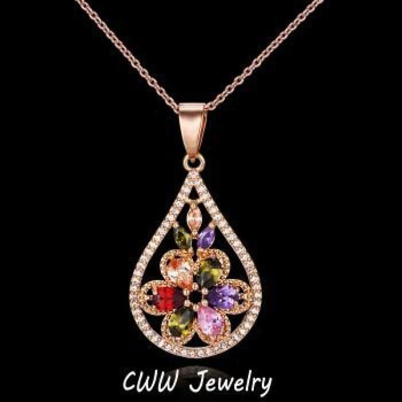 Stone Pave Luxury Multi Color Crystal Big Flower Drop Pendant Necklace - necklace