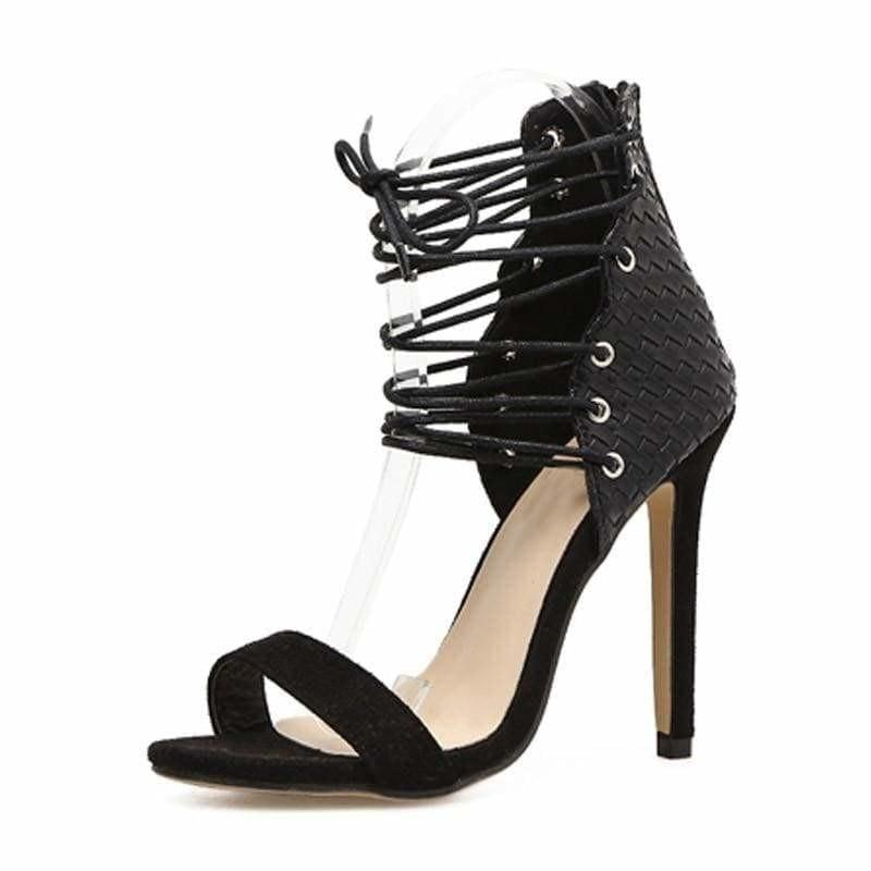 Strappy High Heel Stilettos Gladiator Sandals - Black / 4 - Sandals