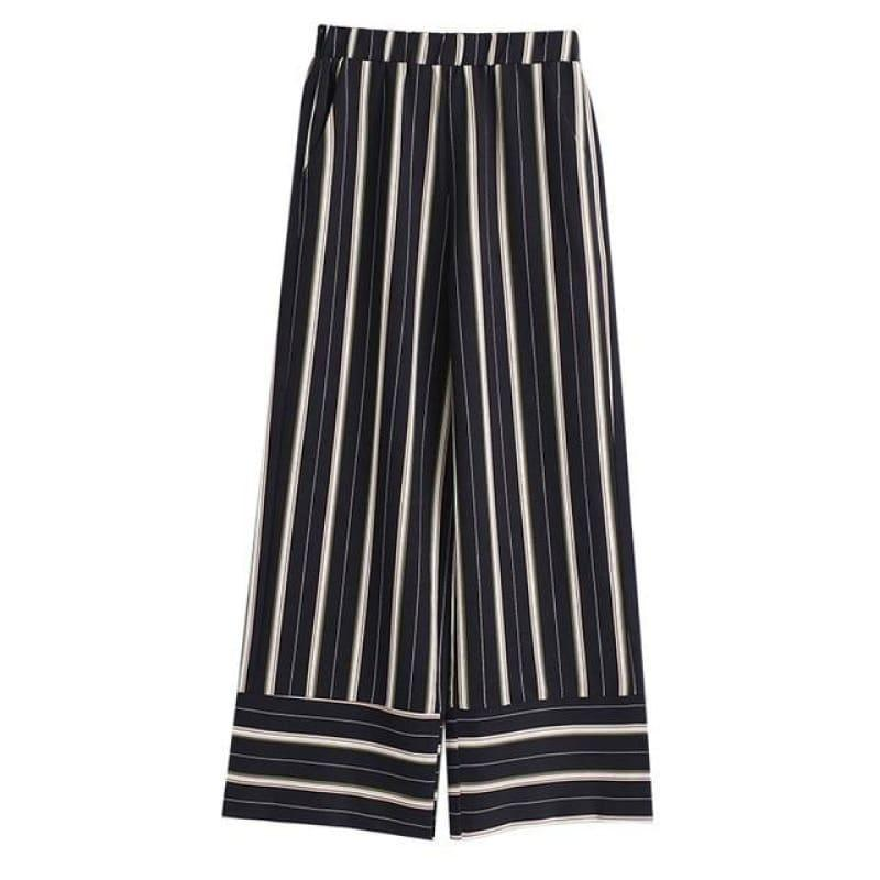 Striped Wide Leg Pants Elastic Waist Pocket Long Trousers Summer Fashion Pants - Blue / L - pants