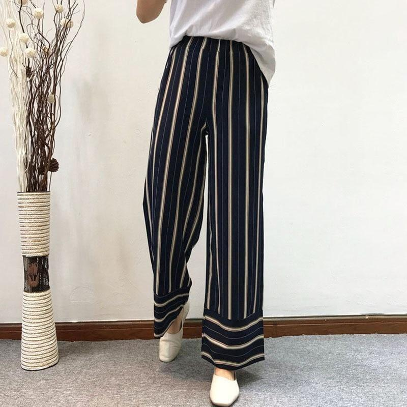 Striped Wide Leg Pants Elastic Waist Pocket Long Trousers Summer Fashion Pants - pants