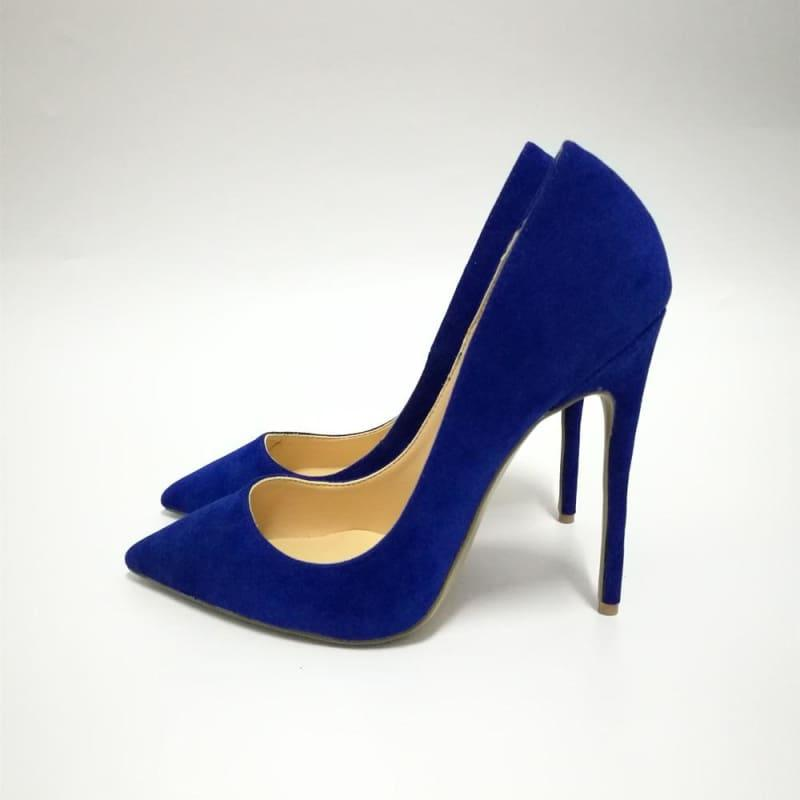 Suede Leather Footwear Women Pumps - blue 12cm / 10 - Pumps