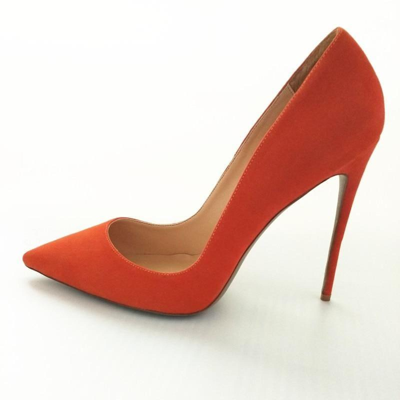Suede Leather Footwear Women Pumps - Orange 12Cm / 10 - Pumps