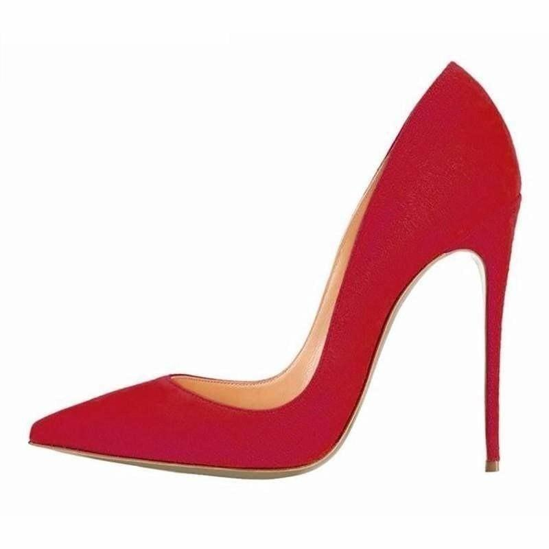 Suede Leather Footwear Women Pumps - red 12cm / 10 - Pumps