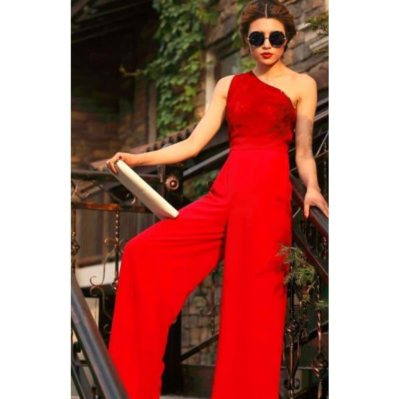 Summer Chiffon Bohemian Elegant Red off Shoulder Full Length Lace Top Jumpsuit - Hot Red / S - Jumpsuit