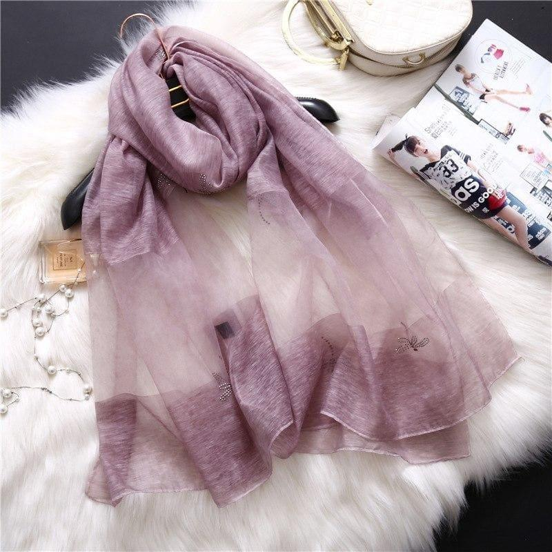 Summer Masonry Dragonfly Wool Silk Scarf - Light Purple - Scarf