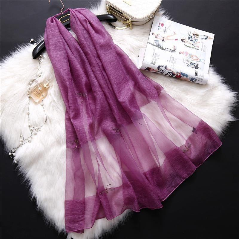 Summer Masonry Dragonfly Wool Silk Scarf - Purple - Scarf