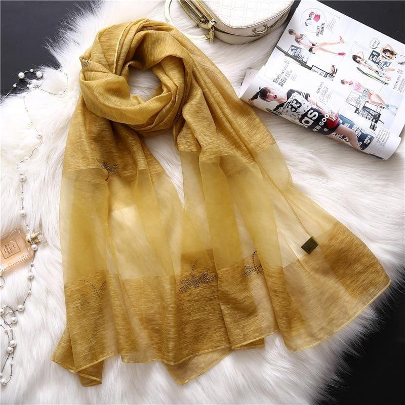 Summer Masonry Dragonfly Wool Silk Scarf - Yellow - Scarf