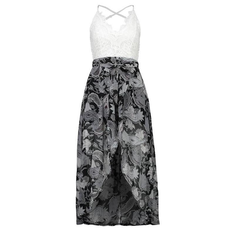Summer Sleeveless Lace Flower Print Boho Maxi Dress - Gray / L - Maxi Dress