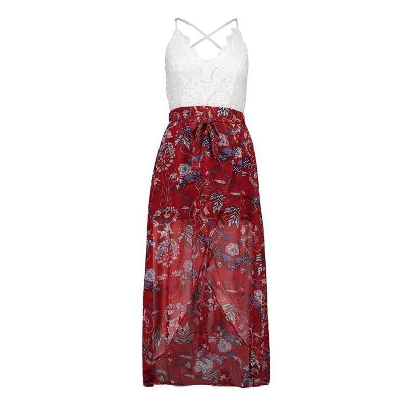 Summer Sleeveless Lace Flower Print Boho Maxi Dress - Red / L - Maxi Dress