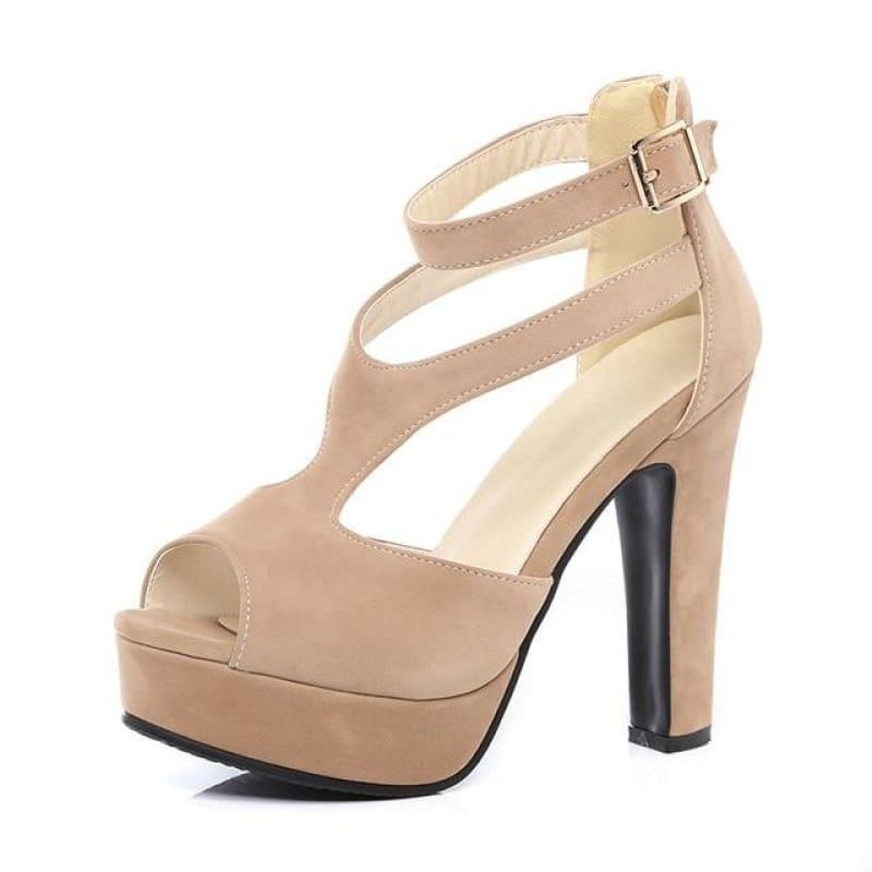 Summer Square High Heel Peep Toe PU Leather Zipper Sandals - apricot / 7 - Sandals