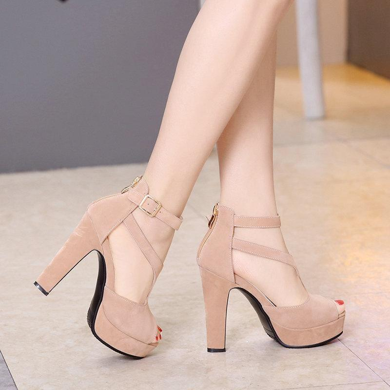 Summer Square High Heel Peep Toe PU Leather Zipper Sandals - Sandals