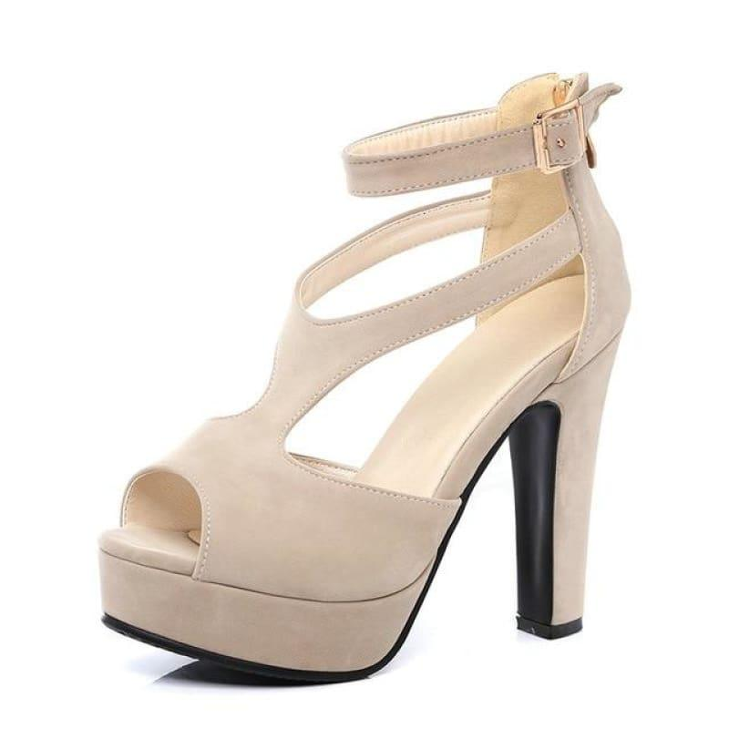 Summer Square High Heel Peep Toe PU Leather Zipper Sandals - Beige / 7 - Sandals