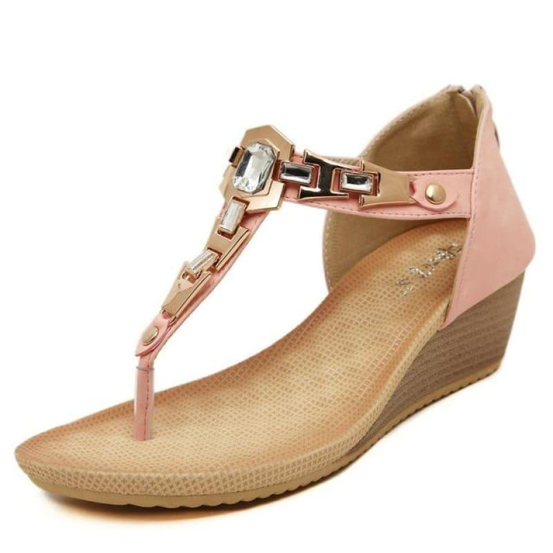 Summer T-strap Flip Flops Thong Wedges Gladiator Sandals - Pink / 4 - sandals