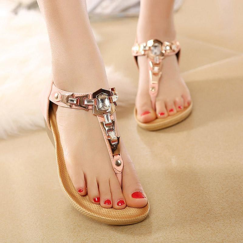 Summer T-strap Flip Flops Thong Wedges Gladiator Sandals - sandals