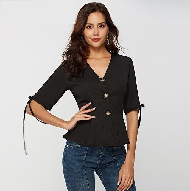 Summer V Neck Blouse Shirt