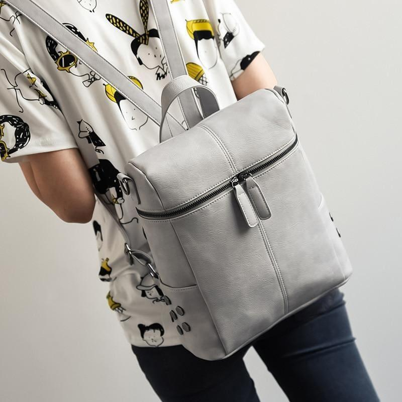 Teenage Girls School Bags Fashion Vintage Solid Black Shoulder Bag - grey - HandBag