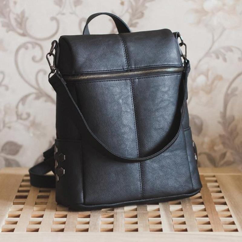Teenage Girls School Bags Fashion Vintage Solid Black Shoulder Bag - HandBag