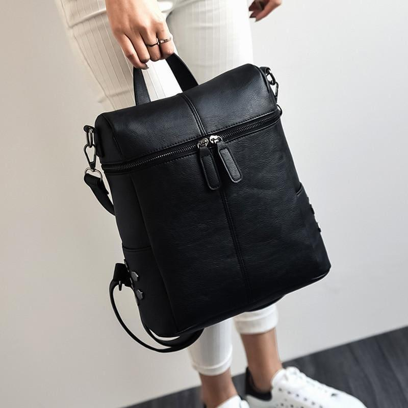 Teenage Girls School Bags Fashion Vintage Solid Black Shoulder Bag - black - HandBag